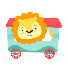 Cheerful red cheeked lion driving toy wheeled vector