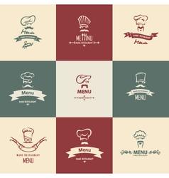 chef menu set vector image