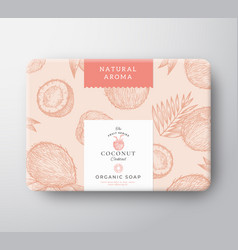 Coconut cocktail soap cardboard box abstract vector