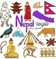 Collection of Nepal icons vector image