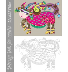 coloring book page for adults with fantastic vector image