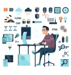 Computer coding icons set vector
