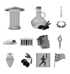 Country greece monochrome icons in set collection vector