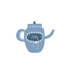 covered ceramic teapot or creamer in flat cartoon vector image
