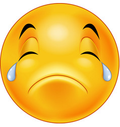 crying smiley emoticon vector image