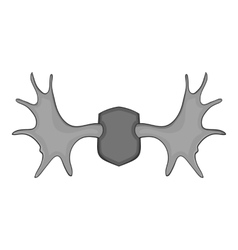 Deer antler icon gray monochrome style vector