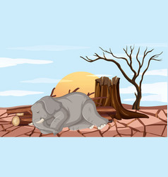 Deforestation scene with elephant and drought vector