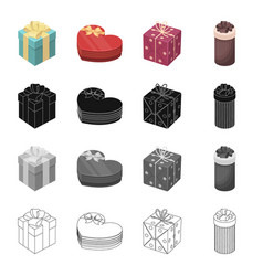 Different types of gift wrapping ribbon bow and vector
