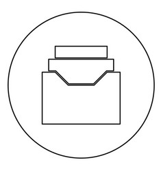 Documents archieve or drawer black icon outline vector