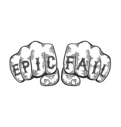 epic fail words tattoo font vector image