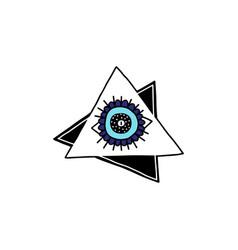Evil eye blue charm symbol in triangles cartoon vector
