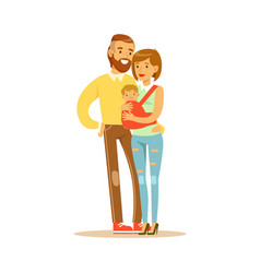 family couple mother carrying their baby in a red vector image vector image