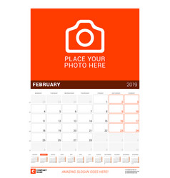 february 2019 wall calendar for 2019 year design vector image