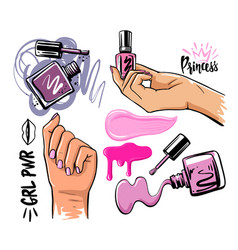 female hands on theme cosmetics and manicure vector image