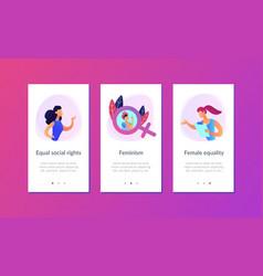 Feminism app interface template vector