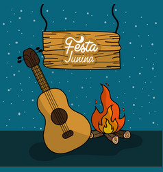 Festa junina with wood fire and guitar vector