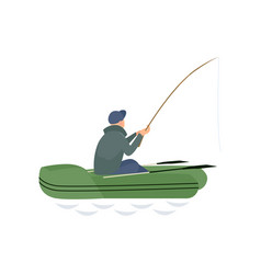 fisherman catching fish with fishing rod male vector image
