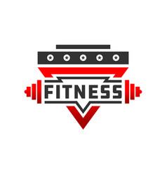 fitness badge sport logo vector image