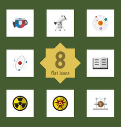 Flat icon science set of scope lecture vector