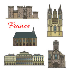 french travel landmark icons with tourist sights vector image