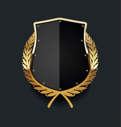 Golden shield with golden laurel wreath 04 vector