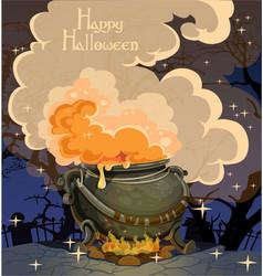 Halloween banner with boiler october night vector