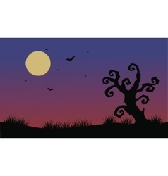 Halloween bat and dry tree scenery vector