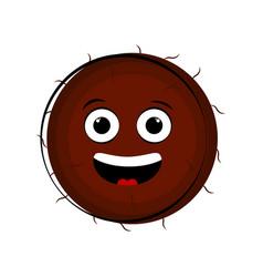 happy coconut cartoon character emote vector image