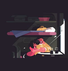 Happy couple traveling in train compartment vector