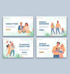 happy families landing pages active parents and vector image