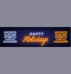 happy holidays neon sign greeting card on dark vector image