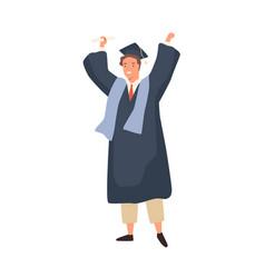 happy student guy celebrating graduation holding vector image