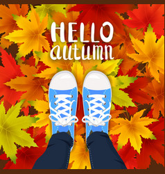 Hello autumn lettering leaves background template vector