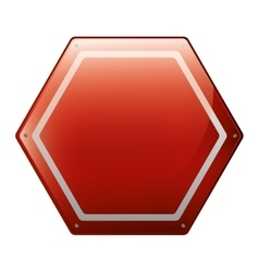 hexagon of road sign red vector image