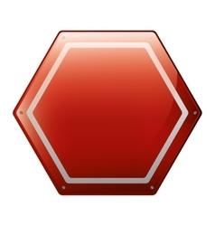 Hexagon of road sign red vector