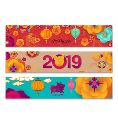 Horizontal banners set with chinese new year vector