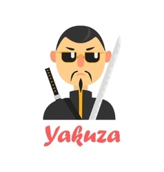 Japaneese yakuza cartoon style icon vector