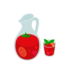 Jar and glass of fresh sangria icon vector