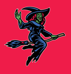 lady wizard riding flying broom vector image