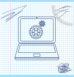 laptop and gears line sketch icon isolated on vector image