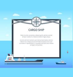 Long cargo ship colorful card vector