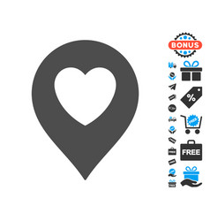 Love heart marker icon with free bonus vector