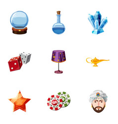 magic equipment icons set cartoon style vector image