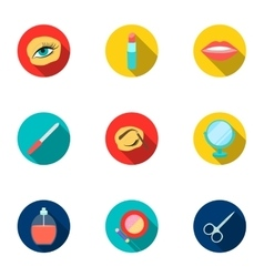Make up set icons in flat style Big collection of vector image