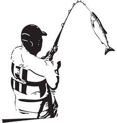 Man fishing from the boat vector
