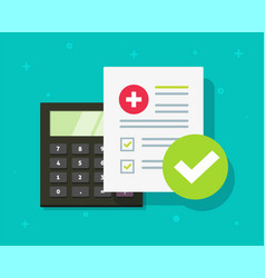 medical health care insurance form calculator or vector image