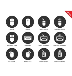 Mouse and keyboard icons on white background vector image