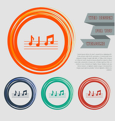 Music notes icon on the red blue green orange vector