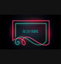neon attractive frame in floral swirl style vector image