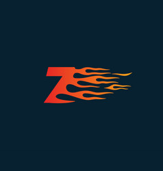 Number7 fire flame logo speed race design concept vector